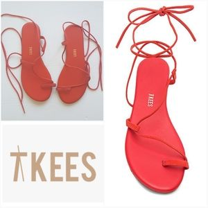 NEW🌟TKEES Jo Lace Up Sandal Suede Red 7